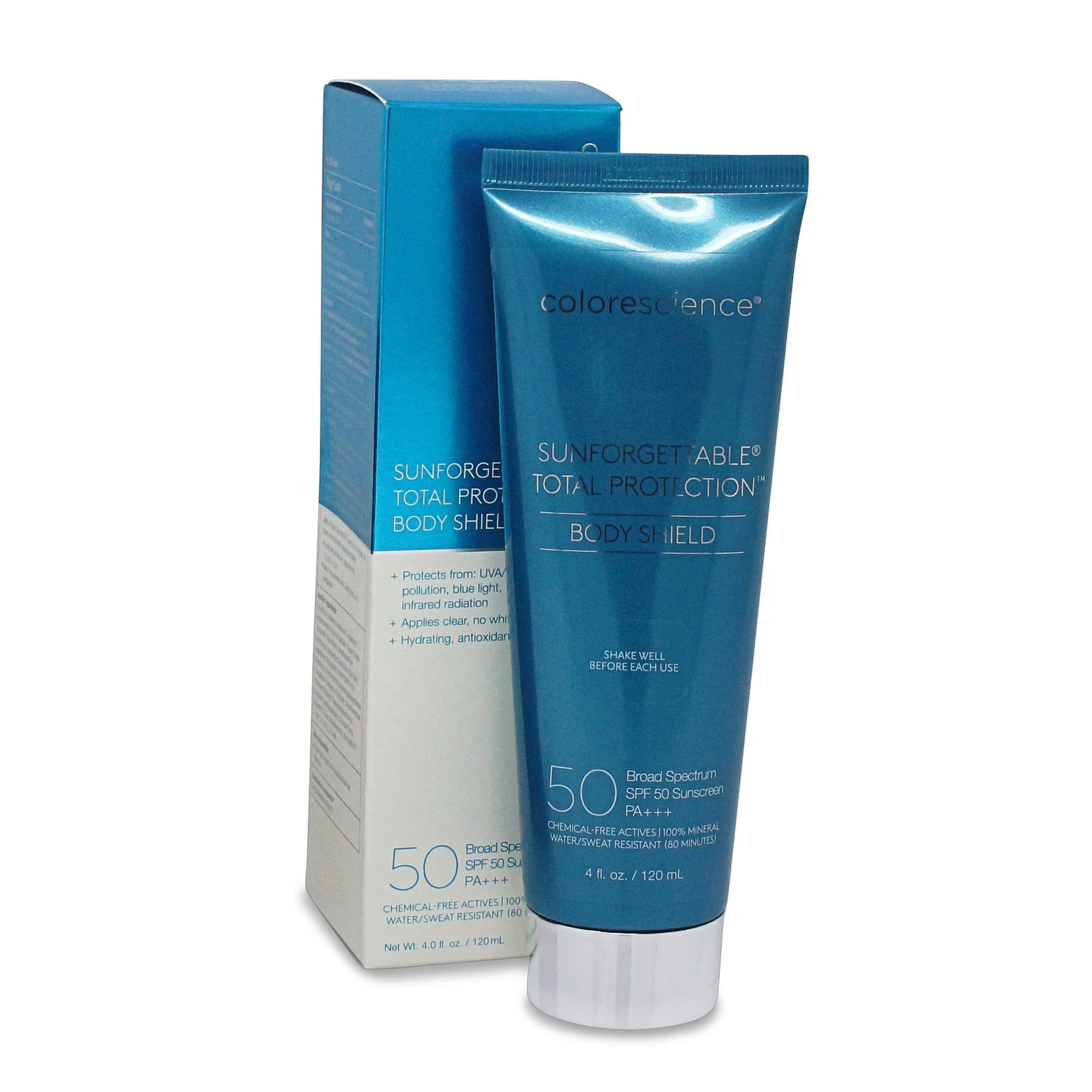 Soothing sunburn starts with prevention. Use Colorescience Sunforgettable Total Protection SPF 50 Bodyshield