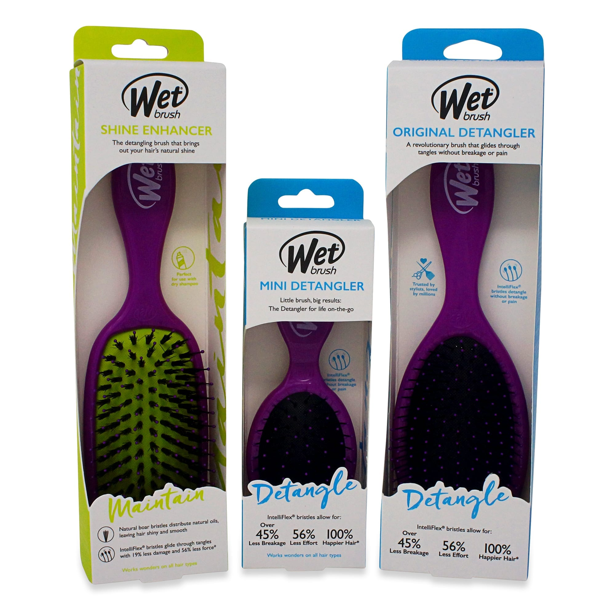 Wet Brush 3 Piece Original Detangler Hair Brush (Purple)