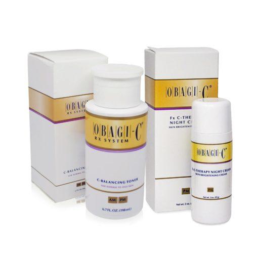 Obagi-C Fx System C-Therapy Night Cream 2 oz & Obagi C RX System C-Balancing Toner 6.7 oz Combo Pack