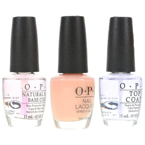 OPI Bubble Bath .5 oz, Top Coat .5 oz & Natural Nail Base Coat .5 oz Pack
