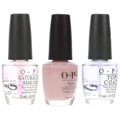 OPI Don't Bossa Nova Me Around 0.5 oz, Top Coat 0.5 oz & Natural Nail Base Coat 0.5 oz Combo Pack