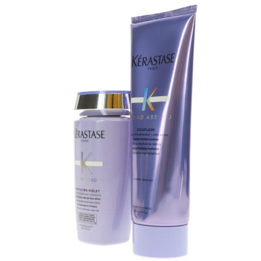 Kérastase Blond Absolu Bain Ultra-Violet Shampoo 8.5 oz & Blond Absolu Cicaflash Conditioner 8.5 oz Combo Pack