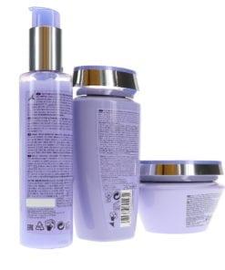 Kérastase Blond Absolu Bain Ultra-Violet Shampoo 8.5 oz, Blond Absolu Cicaplasme Hair Heat-Protecting Serum 5.1 oz & Absolu Masque Ultra-Violet 6.8 oz Combo Pack