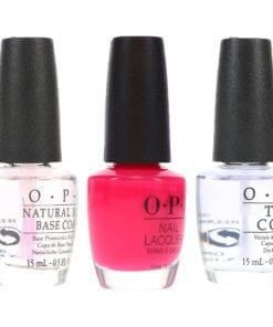 OPI Strawberry Margarita .5 oz, Top Coat .5 oz & Natural Nail Base Coat .5 oz Combo Pack