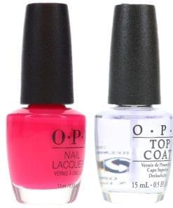 OPI Strawberry Margarita NLM23 .5 oz & Top Coat T30 .5 oz Combo Pack