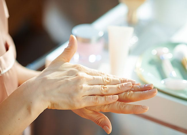 photo of dry skin on hands of a woman