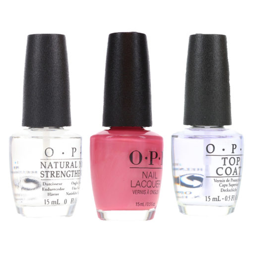 OPI Aphrodite's Pink Nightie NLG01 .5 oz, Top Coat T30 .5 oz & Natural Nail Strengthener T60 .5 oz Pack