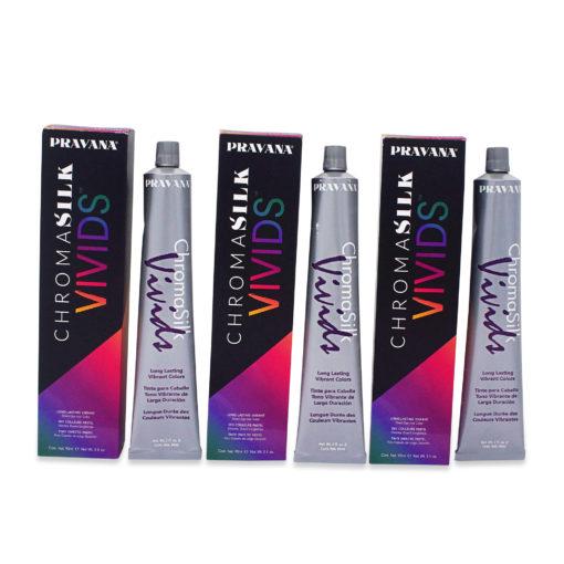 PRAVANA ChromaSilk Vivids Creme Hair Color with Silk & Keratin Protein (Vivid Violet) 3 Oz-3 pack