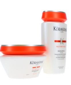 Kerastase Nutritive Bain Satin 2 8.5 Oz & Masquintense Masque 6.8 Oz Combo Pack