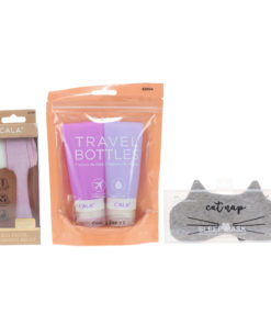 CALA Silicone Travel Bottles Lavender, Sleep Mask Grey Cat Nap & Dual Action Facial Cleansing Brush Lilac Combo Pack
