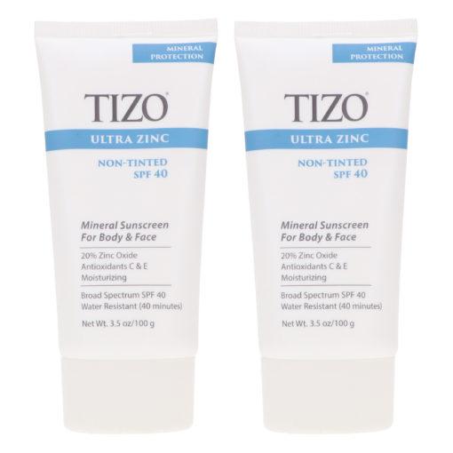 TiZO Zinc Body and Face Sunscreen SPF 40 Non-Tinted with Antioxidants C & E 3.5 oz 2 Pack