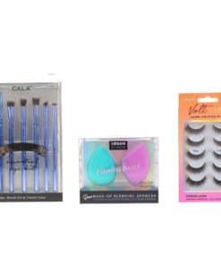 CALA Eye Need It Brush Kit Lavender, Urban Studio Duo Blending Sponges Purple/Teal & Volt Lashes Flirty 5 pk Combo Pack
