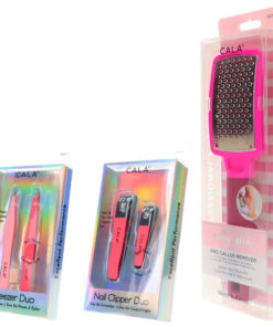 CALA Nail Clipper Duo Coral, Tweezer Duo Coral & Silky Glide Pro Callus Remover Hot Pink Combo Pack