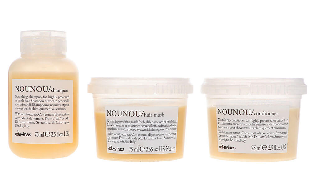Davines NOUNOU Nourishing Shampoo 2.5 oz, NOUNOU Nourishing Conditioner 2.5 oz & NOUNOU Nourishing Hair Mask 2.5 oz Combo Pack